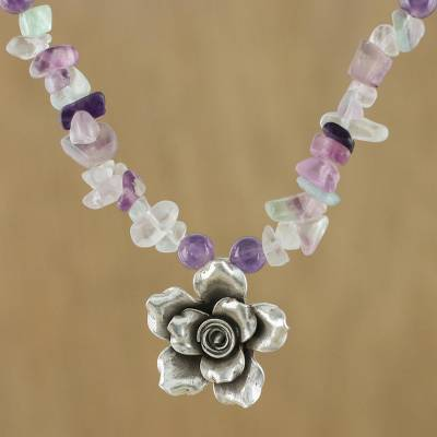 be198184a Fluorite and amethyst pendant necklace, 'Violet Field' - Amethyst Fluorite Sterling  Silver Flower
