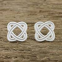 Sterling silver stud earrings, 'Always Return' - Overlapping Ellipses Sterling Silver Stud Earrings