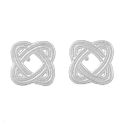 Sterling silver stud earrings, 'Always Return' - Overlapping Ellipses Sterling Silver Stud Earrings