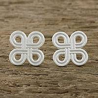 Sterling silver stud earrings, 'Interconnected Journey' - Clover-Patterned Loops Sterling Silver Stud Earrings