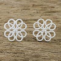 Sterling silver stud earrings, 'Inescapable Beauty' - Symmetrical Overlapping Loop Sterling Silver Stud Earrings