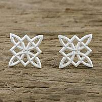 Sterling silver stud earrings, 'Interstellar' - Intertwined Geometric Shapes Sterling Silver Stud Earrings
