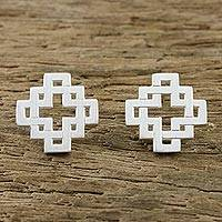 Sterling silver stud earrings, 'Connected Cross' - Overlapping Cross and Square Sterling Silver Stud Earrings