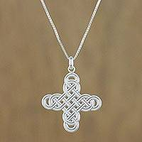 Sterling silver pendant necklace, 'Twining Cross' - Interconnected Loop Cross Sterling Silver Pendant Necklace