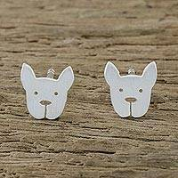 Sterling silver stud earrings, 'French Bulldog' - Sterling Silver French Bulldog Stud Earrings from Thailand