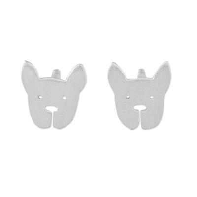 Sterling silver stud earrings, 'French Bulldog' - Sterling Silver French Bulldog Stud Earrings from Thailand