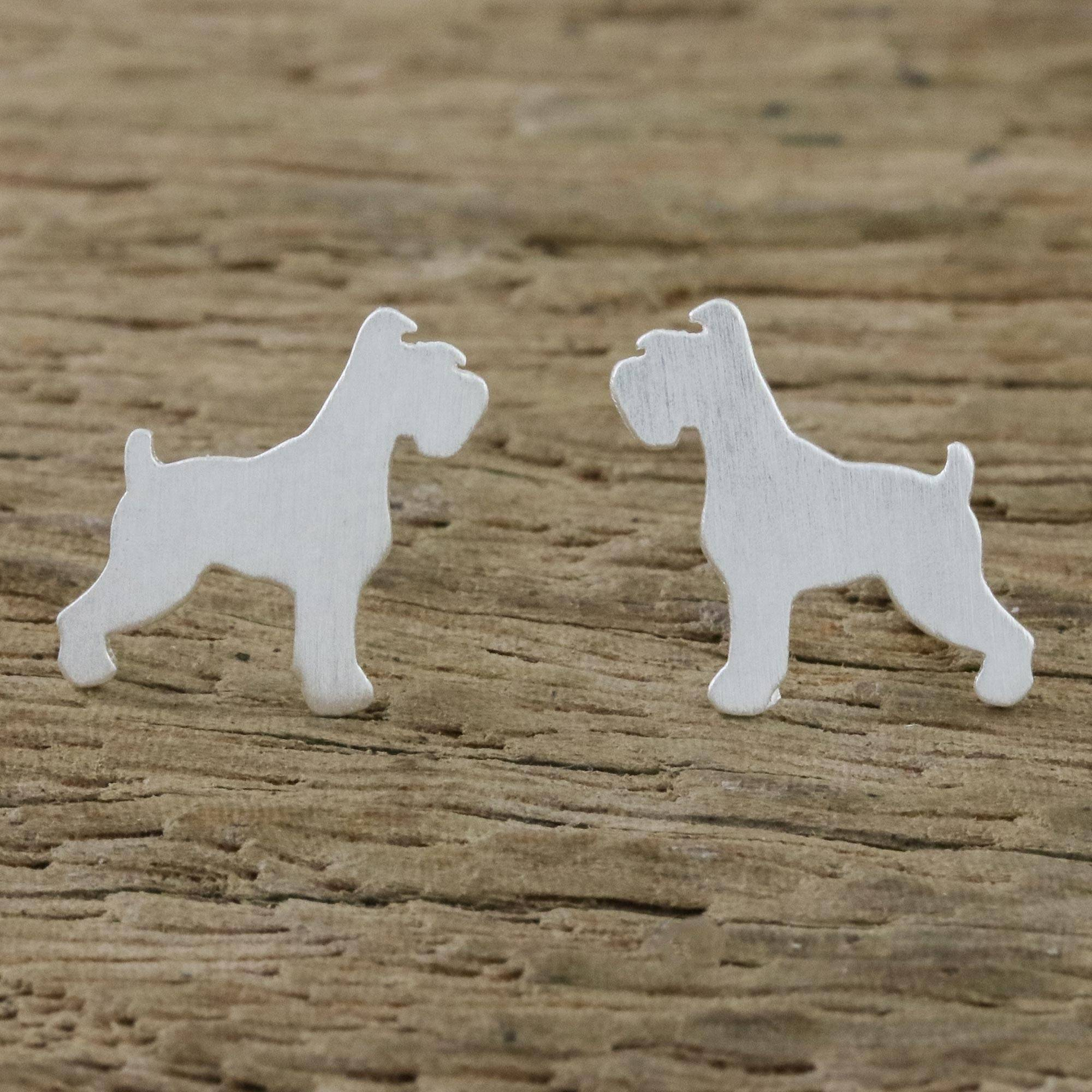 Schnauzer Jewelry Standard Schnauzer Gold Post Earrings