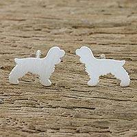Sterling silver stud earrings, 'Springer Spaniel' - Springer Spaniel Sterling Silver Stud Earrings from Thailand