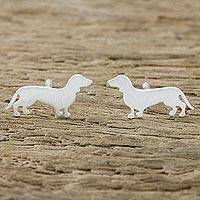 Sterling silver stud earrings, 'Dachsund' - Dachsun Sterling Silver Stud Earrings from Thailand