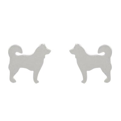 Sterling silver stud earrings, 'Siberian Husky' - Siberian Husky Sterling Silver Stud Earrings from Thailand