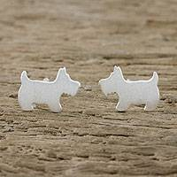 Sterling silver stud earrings, 'Scottish Terrier' - Sterling Silver Scottish Terrier Stud Earrings from Thailand