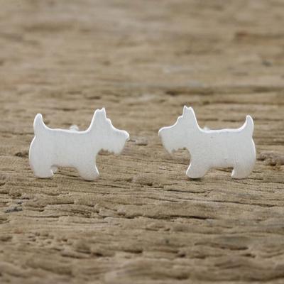 Novica Sterling silver stud earrings, Siberian Husky