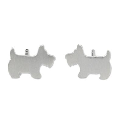 Sterling silver stud earrings, 'Scottish Terrier' - Sterling Silver Scottish Terrier Stud Earrings from Thailand