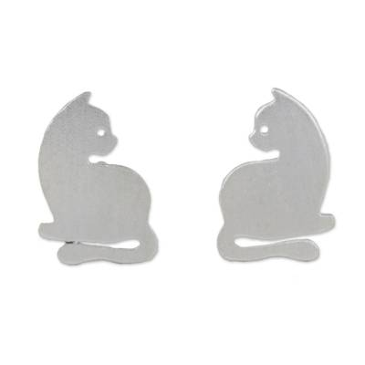 Sterling silver stud earrings, 'Leisurely Felines' - Sterling Silver Cat Stud Earrings from Thailand