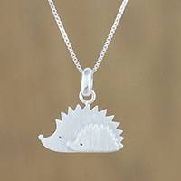 Sterling silver pendant necklace, 'Porcupines'