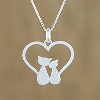 Sterling silver pendant necklace, 'Cats in Love'