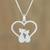 Sterling silver pendant necklace, 'Cats in Love' - Loving Sterling Silver Cat Pendant Necklace from Thailand (image 2) thumbail
