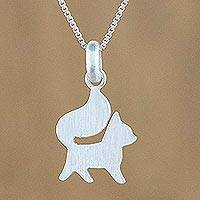 Sterling silver pendant necklace, 'Puppy Poise' - Elegant Sterling Silver Dog Pendant Necklace from Thailand