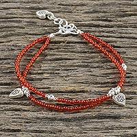 Chalcedony beaded charm bracelet, 'Karen Tangerine' - Chalcedony Beaded Charm Bracelet from Thailand