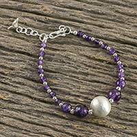 Amethyst beaded pendant bracelet, 'Purple Saturn' - Amethyst Beaded Pendant Bracelet from Thailand