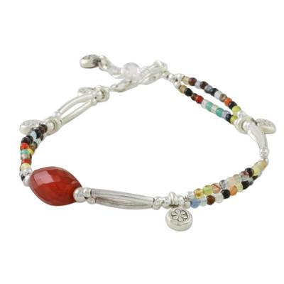 Chalcedony and agate beaded charm bracelet, 'Karen Colors' - Chalcedony and Agate Beaded Charm Bracelet from Thailand