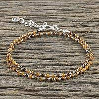 Tiger's eye beaded wrap bracelet, 'Karen Belief' - Tiger's Eye Beaded Wrap Bracelet from Thailand
