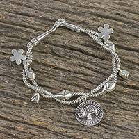 Silver beaded charm bracelet,