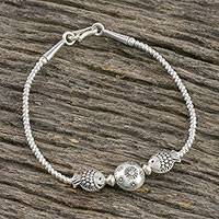 Silver beaded pendant bracelet, 'Moon Fish'