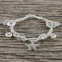 Silver beaded charm bracelet, 'Ocean Life' - Silver Sea Life Beaded Charm Bracelet from Thailand
