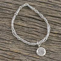 Silver beaded torsade bracelet, 'Flowery Day' - Floral Karen Silver Beaded Torsade Bracelet from Thailand