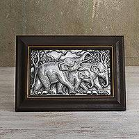 Aluminum relief panel, 'Walking Elephant Family I' - Aluminum Relief Panel of an Elephant Family from Thailand