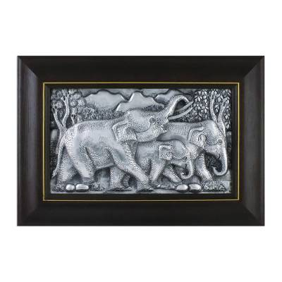Aluminum Relief Panel of an Elephant Family from Thailand