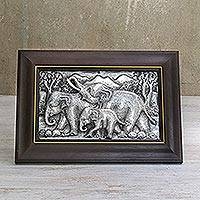 Aluminum relief panel, 'Walking Elephant Family II' - Elephant-Themed Aluminum Relief Panel from Thailand