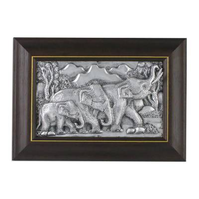 Aluminum Relief Panel of a Walking Elephant Family
