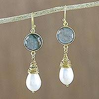 Gold plated labradorite and cultured pearl dangle earrings, 'Moonlit Dawn' - Gold Plated Labradorite and Cultured Pearl Dangle Earrings
