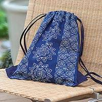 Batik cotton drawstring backpack, 'Swirling Suns' - Indigo Blue Batik Cotton Drawstring Backpack from Thailand