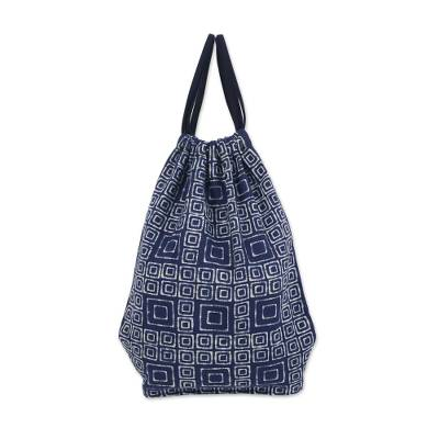 Cotton drawstring backpack, 'Indigo Maze' - Indigo Blue Batik Cotton Square Motif Drawstring Backpack