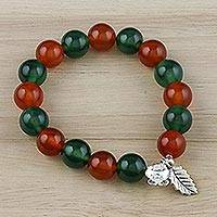 Chalcedony beaded stretch bracelet, 'Changing Forest' - Colorful Chalcedony Beaded Stretch Bracelet from Thailand
