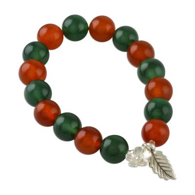 Colorful Chalcedony Beaded Stretch Bracelet from Thailand
