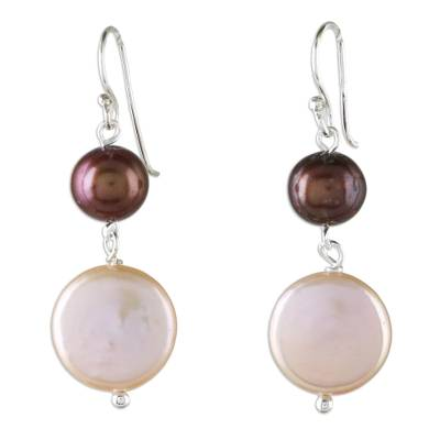 Cultured Pearl Dangle Earrings Crafted in Thailand