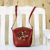 Leather sling, 'Crimson Bouquet' - Floral Red Leather Sling Handbag Handmade in Thailand