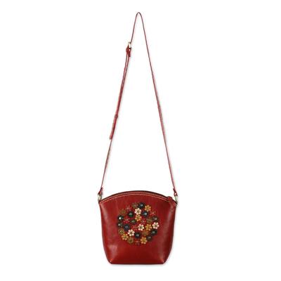 Floral Red Leather Sling Handbag Handmade in Thailand