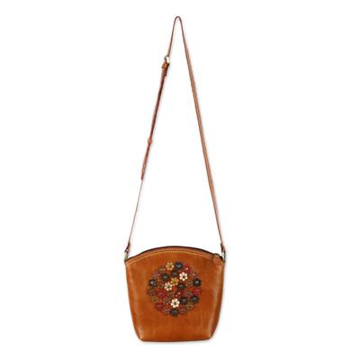 Floral Orange Leather Sling Handbag Handmade in Thailand