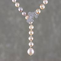 Cultured pearl Y-necklace, 'Beautiful Butterfly' - Cultured Pearl Butterfly Y-Necklace from Thailand