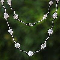 Rhodium plated cultured pearl link necklace, 'Shining World'