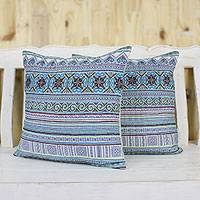Cotton blend cushion covers, 'Hmong Nature' (pair)
