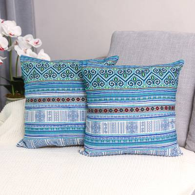 Cotton blend cushion covers, 'Hmong Nature' (pair) - Hmong Cotton Blend Cushion Covers from Thailand