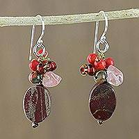 Jasper dangle earrings, 'Summer Symphony' - Jasper Beaded Dangle Earrings from Thailand