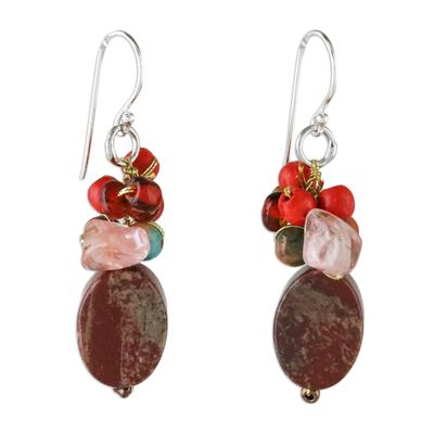 Jasper dangle earrings, 'Summer Symphony' - Jasper Beaded Dangle Earrings from Thailand