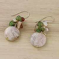 Multi-gemstone dangle earrings, 'Thai Joy' - Multi-Gemstone Beaded Cluster Earrings from Thailand
